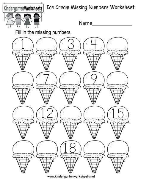 Missing Number Worksheet Kindergarten Ice Cream Missing Numbers Worksheet Line A ƒa A A µ 2020 A A µ Kegiatan Sekolah Buku Mewarnai Matematika Kelas Satu