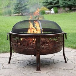 Sunnydaze 30 Inch Royal Firebowl Fire Pit With Handles And Spark Screen Steel Fire Pit Wood Burning Fires Wood Burning Fire Pit