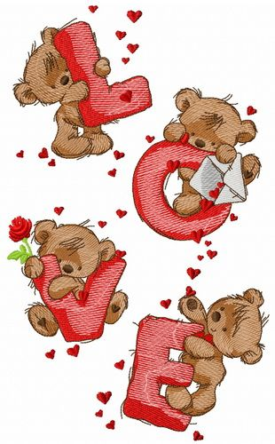 Teddy bears and love embroidery design. Machine embroidery design. www.embroideres.com