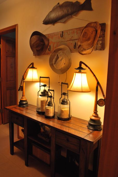 Loving Lodge Living Exit Of The Home Prior To Heading To The Lake Created A Functional But Fun Space T Fishing Cabin Decor Rustic Fishing Decor Fishing Room