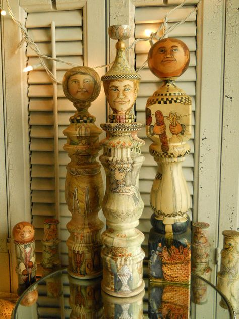 Original Hand Painted OOAK Candlestick Maker Turning Art Doll Home Decor Original Art Doll Collectible Treasury Item