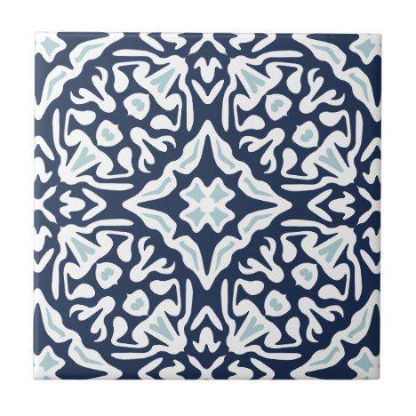 Navy And White Mediterranean Pattern Tile Zazzle Com
