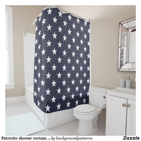 Patriotic Shower Curtain With American Flag Stars Zazzle Com