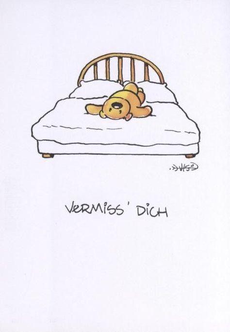 Jan Vis Cartoon Postkarte: Vermiss Dich -  - #gutenmorgen