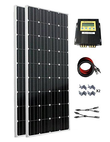 Ecoworthy 300 Watt 2pc 160w Monocrystalline Off Grid Solar Panel Kit With 20a Mppt Charge Controller For Solar Panels Solar Panel Installation Diy Solar Panel