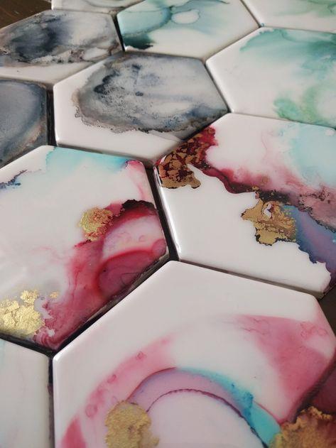 Pretty fluid art on octagon tiles