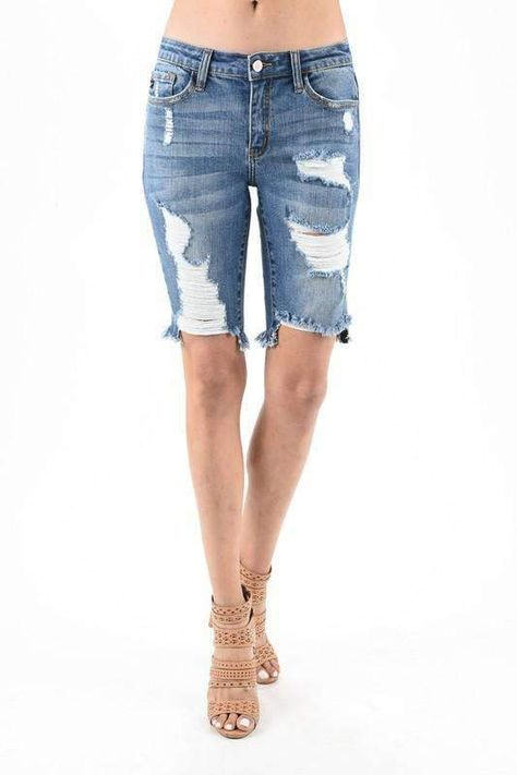 03664fa6d865 Kancan Long Distressed Ripped Denim Shorts in 2019   Products ...