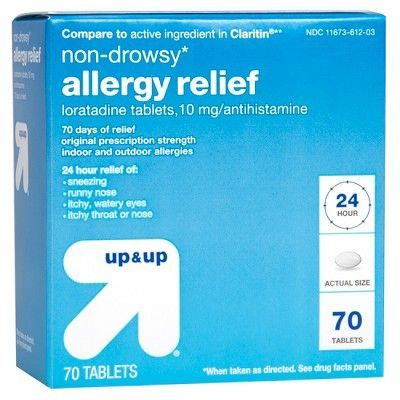 Loratadine Antihistamine 10mg Non Drowsy Allergy Relief Tablets 70ct Up Up Allergy Relief Allergies Claritin
