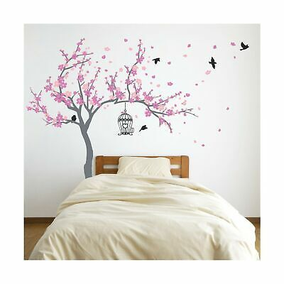 Japanese Cherry Blossom Birdhouse And Tree Large Wall Decal Sticker Diy Nurse Fashion Home Gard Nursery Room Diy Diy Nursery Room Decor Large Wall Decals