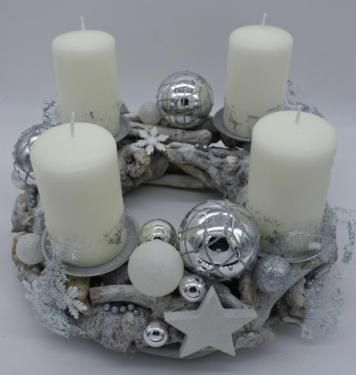 Adventskranz Kranz Advent Kerzen Weiss Silber 30cm Weihnachten In