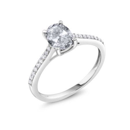 10k White Gold Diamond Accent Engagement Ring Oval White Topaz 1 40 Ct Diamonds Solitaire Engagement Ring Diamond Engagement Ring Set Solitaire Ring Set
