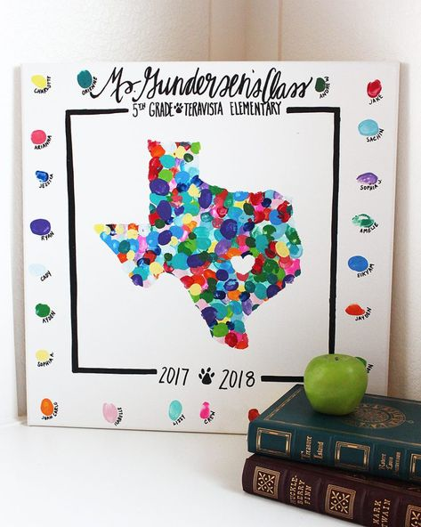 Class Art Project Idea: State Thumbprint Art Canvas : This state thumbprint canvas is a unique class art project perfect for giving as a teacher appreciation gift or making for a class auction!