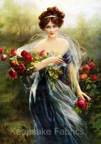 Victorian Woman Fabric Block Rose Bouquet Beautiful Long Auburn Hair