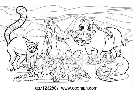 Vector Art African Animals Cartoon Coloring Page Eps Clipart Zoo Animal Coloring Pages Animal Coloring Pages Cartoon Coloring Pages