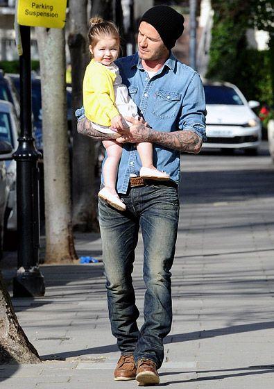 David Beckham toted his daughter, Harper
