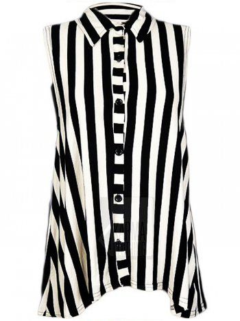 61724268ddae10 KarmaClothing Black White Vertical Stripe Sleeveless Shirt