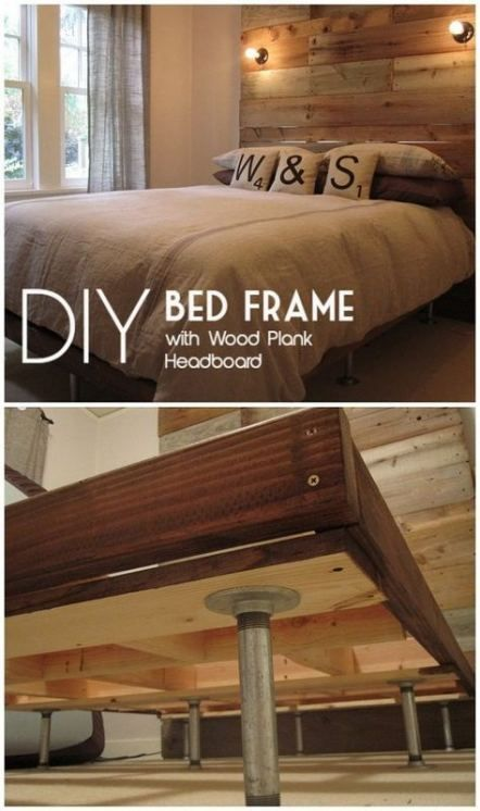 Wood Plank Headboard Diy Platform Beds 56 Ideas Headboard Ideas Plank Platform New Diy Bed Frame Diy Bed Frame Easy Diy Platform Bed
