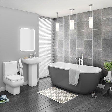 Pro 600 Grey Modern Free Standing Bath Suite Victorian Plumbing Uk Corner Of Modern Bathroom In 2020 Free Standing Bath Tub Free Standing Bath Cheap Bathroom Suites