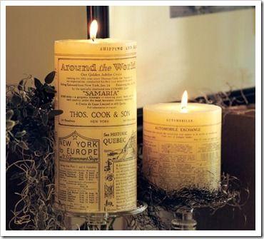 Newsprint Candle DIY Tutorial