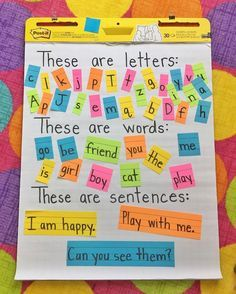 """Michaela on Instagram: """"I loved @makewayforkinders' anchor chart for letters, words, and sentences and had to have a rainbow-themed version! ☺️ Hers is a little…"""""""