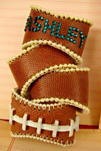 Custom Football Cuffs the Touchdown cuff Lisa Kettell, no clasp | MoonfairesWorld - Jewelry on ArtFire
