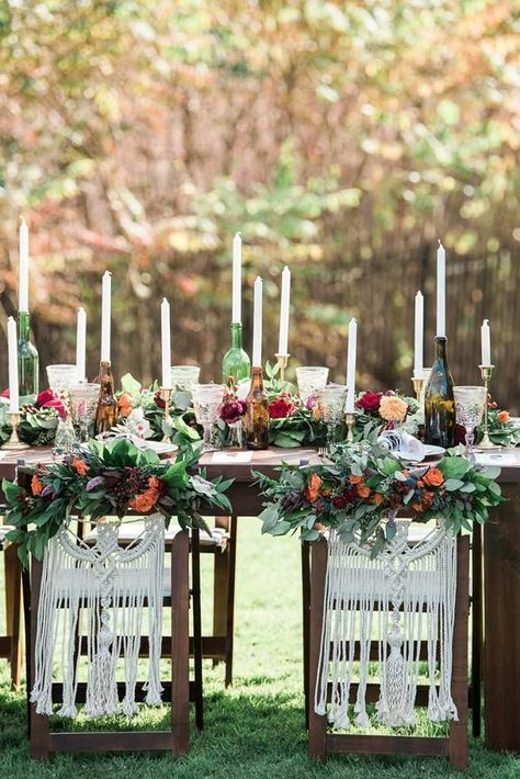 Trendy Bohemian Wedding Decorations ❤ bohemian wedding decorations boho table with flowers candles in bottles and macrame on chairs the right moments photography #weddingforward #wedding #bride #bohowedding #weddingdecor #bohemianweddingdecorations