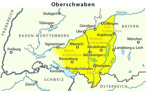 Map Upper Swabia Oberschwaben Upper Swabia Wikipedia Mit