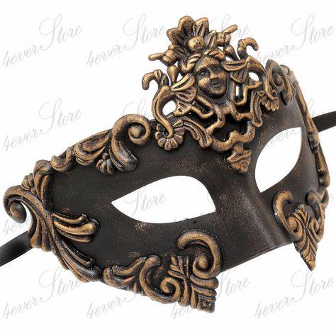 Mens Greek Roman Sun God Warrior Costume Venetian Masquerade Ball Mask Copper
