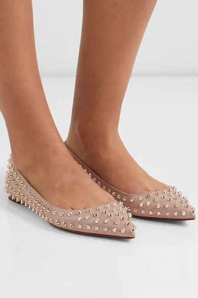 reputable site 526f5 27201 Christian Louboutin Ballalla spiked leather point-toe flats ...
