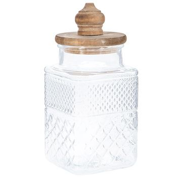 Square Glass Jar With Diamonds Wood Lid Large Square Glass Jars Glass Jars Decorative Pillows