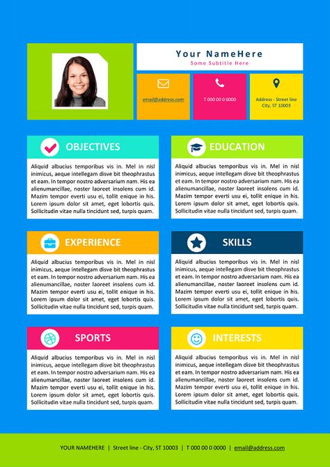 Colorful Resume Template for Kids Modern \ Creative resume - colorful resume templates