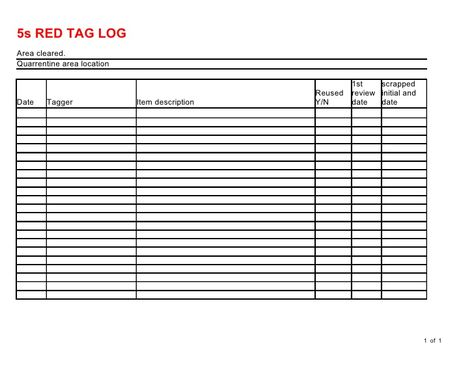 Red Tag Log Lean Manufacturing Pinterest - check request form