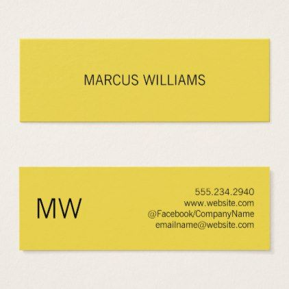 Modern Sophisticated / Yellow Mini Business Card   Minimalist Office Gifts  Personalize Office Cyo Custom
