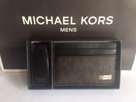 ed121b51a368 MICHAEL KORS MENS BROWN MK LOGO SIGNATURE CARD CASE MONEY CLIP 2 PIECE BOX  SET  MichaelKors  CardCase