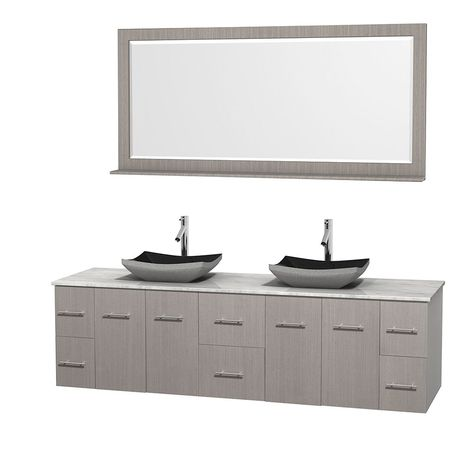 Wyndham Collection Centra 80 Inch Double Bathroom Vanity In Grey