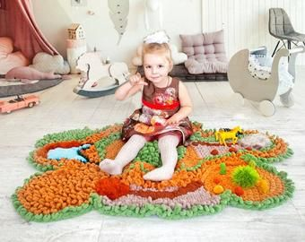 Knitted vegetables Play mats Knitted toys for baby от ChldhdShop