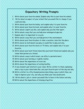 In Texas, the new STAAR test requires 4th graders to write two expository papers, so there is a need to teach this type of writing to our students.   This is just a list of possible writing prompts you can use to get your students writing expository papers!
