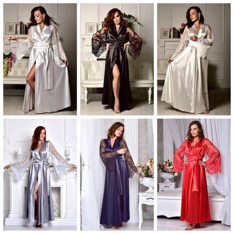 1dd3835d57 Gray long bridal robe Bridesmaid kimono robe Satin bridal dressing gown  Long lace bridal robe Long