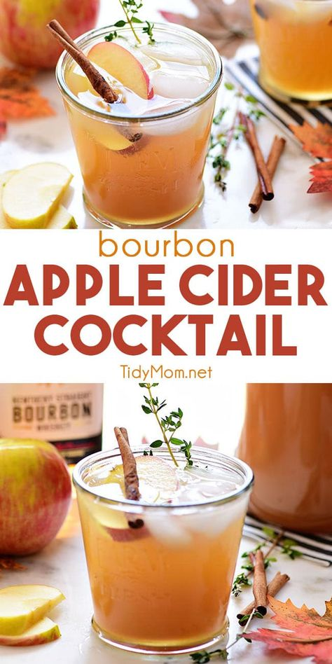 Apple cider takes on a grown-up twist with the addition of bourbon in this delicious Apple Cider Cocktail Made easy with just a handful of ingredients it s the perfect excuse to throw a fall gathering Print the recipe at Bourbon Cocktails, Holiday Drinks, Holiday Cocktails, Cocktail Drinks, Christmas Drinks, Cocktail Recipes For Fall, Cocktails For Men, Drinks With Bourbon, Apple Cocktails
