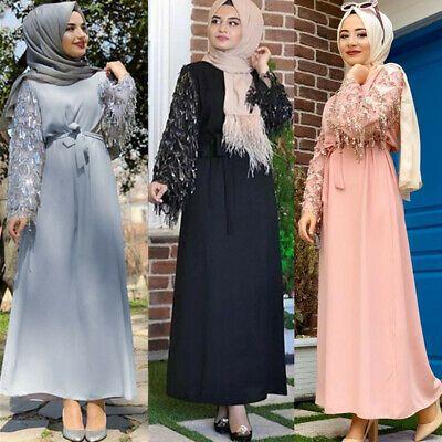 Muslim Women Floral Islamic Abaya Long Sleeve Maxi Dress Party Jilbab Dubai Gown