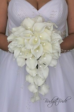 Cascading Calla Lily Bouquet With Pearls And Jewels White Calla