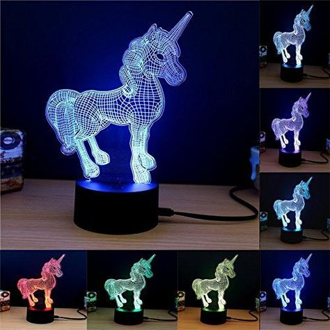 E-lec Night Lamp Optical Illusion 7 Color Changing RGB Gradient Light Home Decor Acrylic Plate Touch Table Desk Lamps for Kids Adults Gift (Unicorn) >>> Continue to the product at the image link. (This is an affiliate link)