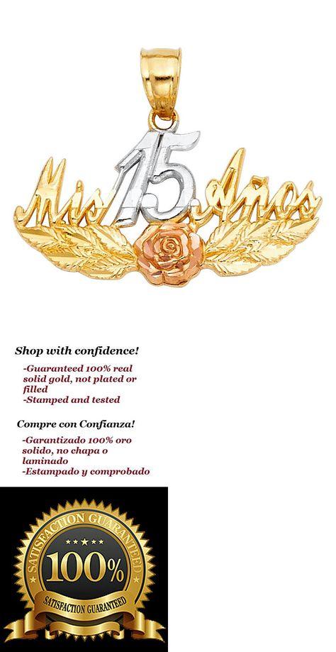 14k Real Solid Tricolor Gold 15 Años Flower Quinceañera Pendant Oro Solido Dije