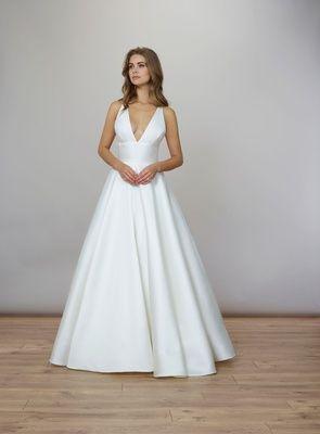 Liancarlo Spring 2020 Bridal Collection Wedding Dress V Neck Silk Mikado Ball Gown Criss Cross Back Wedding Dress Couture Wedding Dresses Bridal Fashion Week