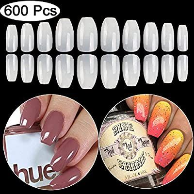 Amazon Com Coffin Fake Nails Tips Acrylic False Nail Btartbox 600pcs Natural Artificial Full Cover Ballerina Nai In 2020 Fake Nails Short Coffin Nails Ballerina Nails