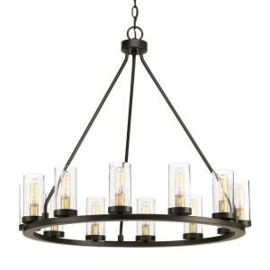 Progress Lighting Hartwell 26 63 In 12 Light Antique Bronze Dining Room Chandelier With Clear Seeded Glass And Natural Brass Accents P400126 020 The Home Dep Antique Bronze Chandelier Bronze Chandelier Large Rustic Chandeliers