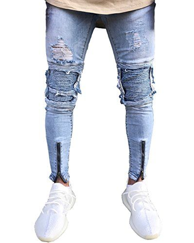 06e5e9744215d Mens Distressed Skinny Slim Fit Zip Jeans with Rips and Biker Details Blue  28 -- Be sure to check out this awesome product.-It is an affiliate link to  ...