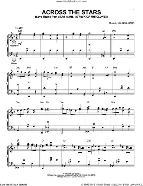Williams Across The Stars From Star Wars Attack Of The Clones Sheet Music For Accordion Star Wars Sheet Music Sheet Music Accordion Sheet Music