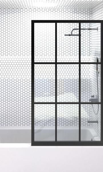 This Fixed Panel Shower Screen Is Designed For The Bathtub And Resembles A Vintage Factory Window W Corner Shower Doors Half Glass Shower Door Tub Shower Doors
