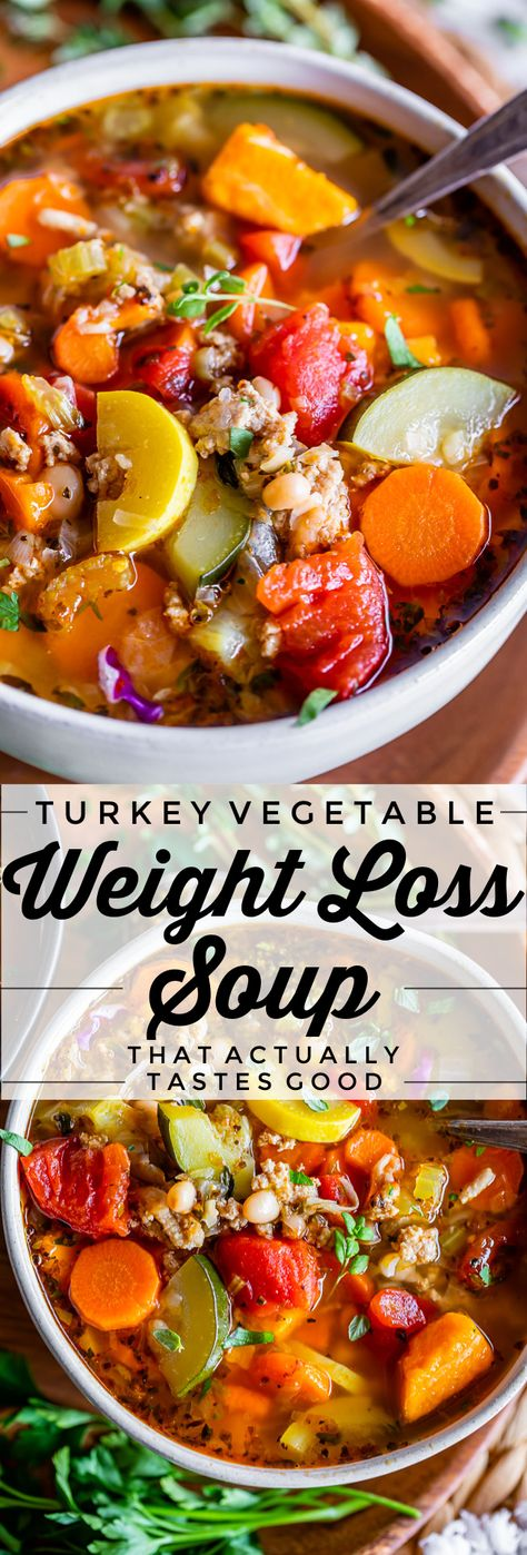Weight Loss Soup (Turkey Vegetable Soup) from The Food Charlatan. A Weight Loss Soup recipe that is packed full of veggies! This homemade Turkey Vegetable soup is really low calorie because it's basically a bunch of veggies, broth, and ground turkey. Ground turkey is a great way to bring in tons of flavor! So you will actually want to eat it! It's really quite delicious, and the first meal I make whenever I kick off a diet! #easy #healthy